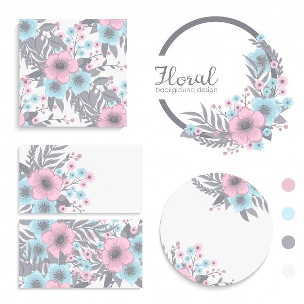 Conjunto de tarjeta con flores rosas y azules vector gratuito