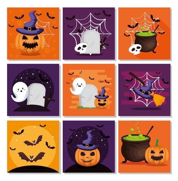 Conjunto de tarjeta de halloween vector gratuito