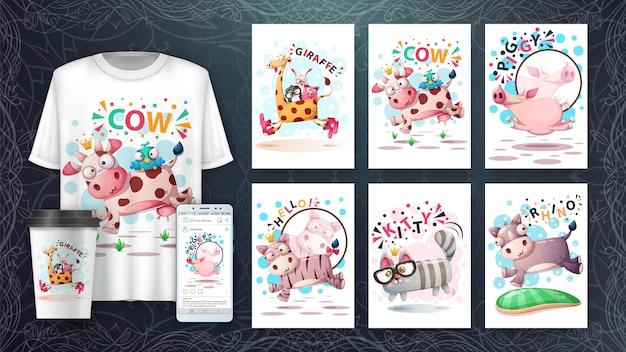 Conjunto de tarjeta de ilustración de animales de salto lindo y merchandising. Vector Premium