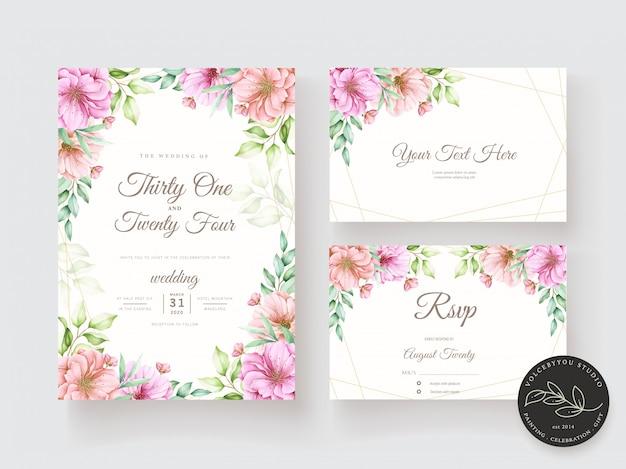 Conjunto de tarjeta de invitación acuarela floral y hojas vector gratuito