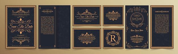 Conjunto de tarjeta de invitación de boda con adornos florece Vector Premium