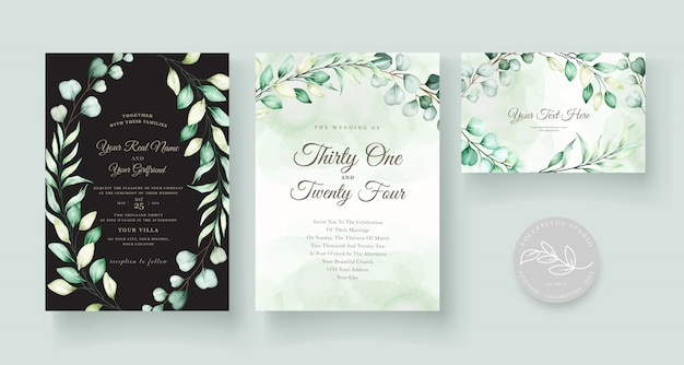 Conjunto de tarjeta de invitación de boda de eucalipto acuarela vector gratuito