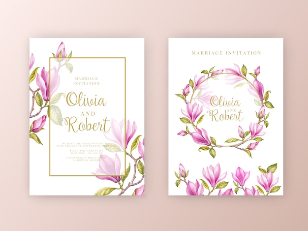 Conjunto de tarjeta de invitación de boda de flores de magnolia rosa Vector Premium