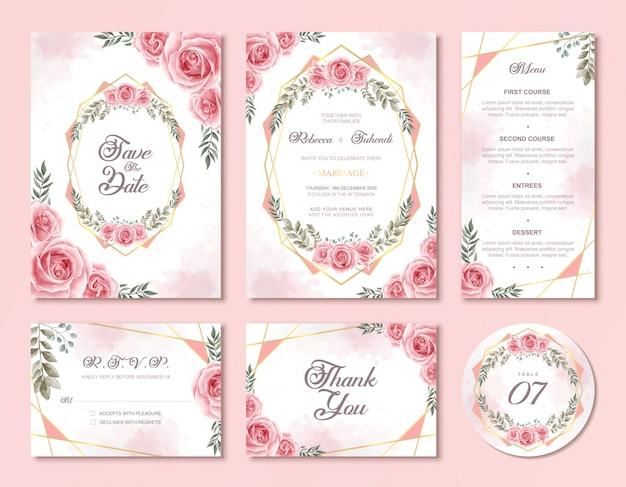 Conjunto de tarjeta de invitación de boda con hermosas flores rosas de acuarela rosa floral Vector Premium