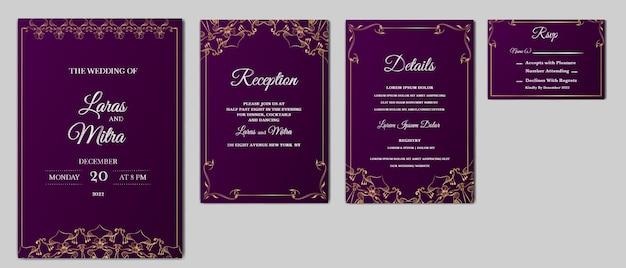 Conjunto de tarjeta de invitación de boda de lujo vector gratuito