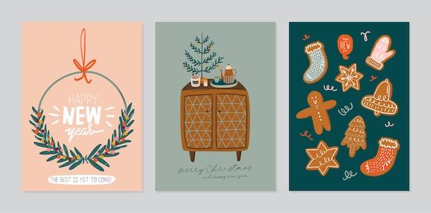 Conjunto de tarjeta de invitación. interior escandinavo con decoración del hogar: corona, pan de jengibre, árbol. acogedora temporada de vacaciones de invierno. linda ilustración y tipografía navideña en estilo hygge. Vector Premium