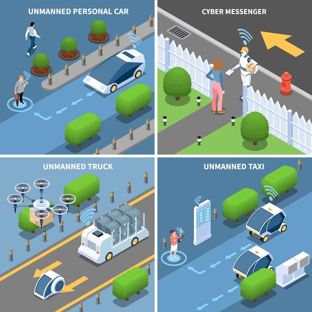 Conjunto de tarjeta isométrica de vehículos y robots autónomos vector gratuito