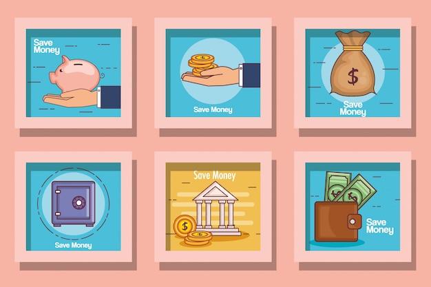 Conjunto de tarjeta lineal financiera y dinero Vector Premium