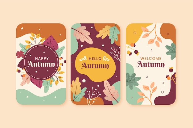 Conjunto de tarjeta de otoño de diseño plano vector gratuito