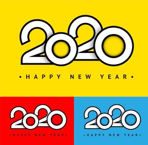 Conjunto de tarjeta de texto de moda vacaciones 2020 Vector Premium
