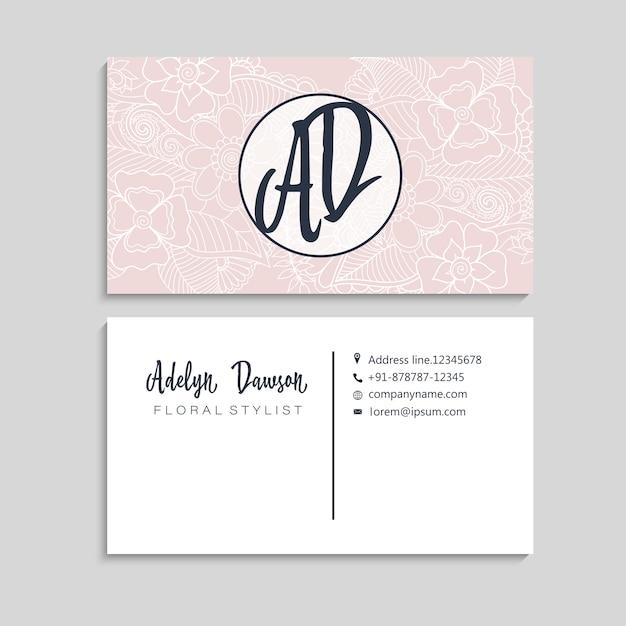 Conjunto de tarjeta de visita con flores dibujadas a mano zentangle vector gratuito