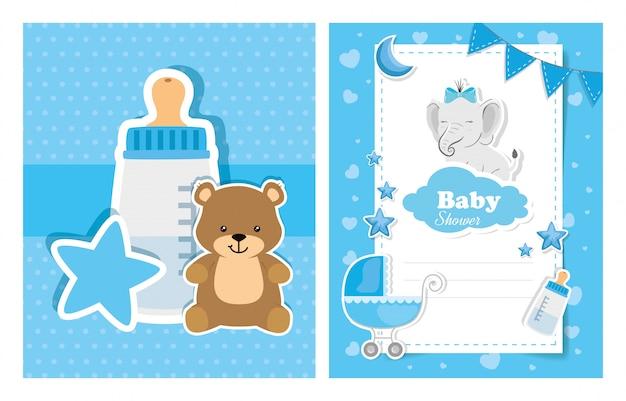 Conjunto de tarjetas de baby shower con linda decoración Vector Premium