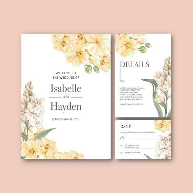 Conjunto de tarjetas de boda floral vector gratuito