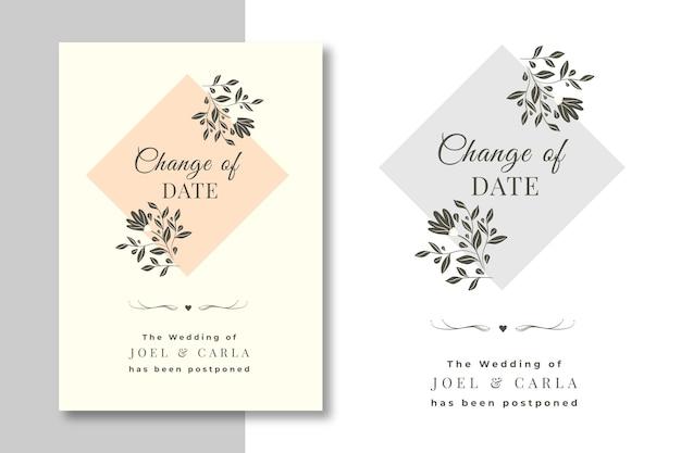 Conjunto de tarjetas de boda pospuestas dibujadas a mano vector gratuito