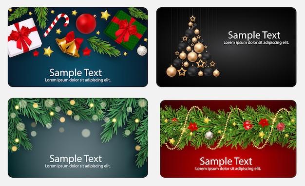 Conjunto de tarjetas con bolas de navidad, estrellas y copos de nieve, ilustración vectorial Vector Premium
