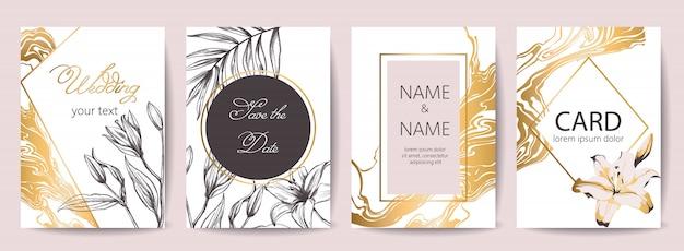 Conjunto de tarjetas de celebración de boda con lugar para texto. reserva. decoración de flores tropicales. colores dorado, blanco y negro. vector gratuito