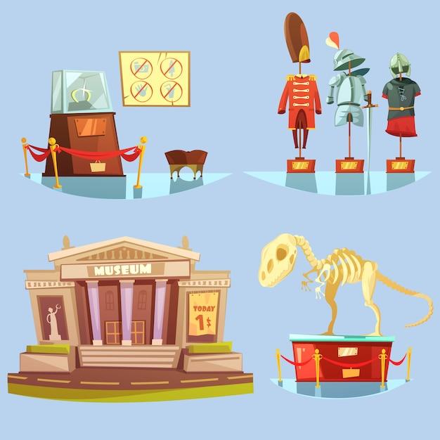 Conjunto de tarjetas coloridas del museo de dibujos animados vector gratuito