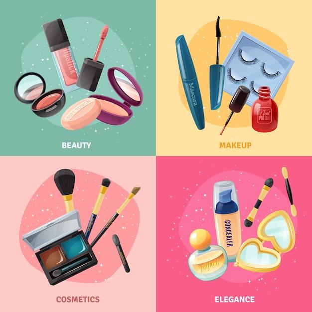 Conjunto de tarjetas de concepto de maquillaje de cosméticos vector gratuito