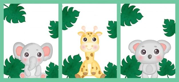 Conjunto de tarjetas de cumpleaños con animales de safari. Vector Premium