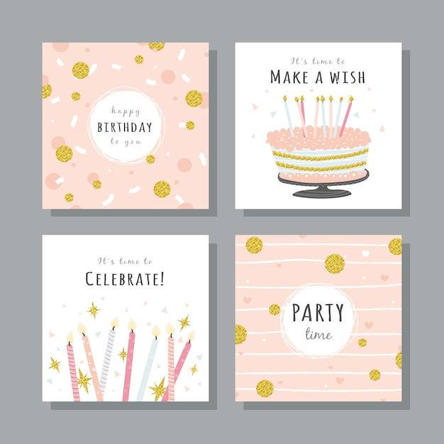 Conjunto de tarjetas de cumpleaños con elementos de fiesta de colores. Vector Premium