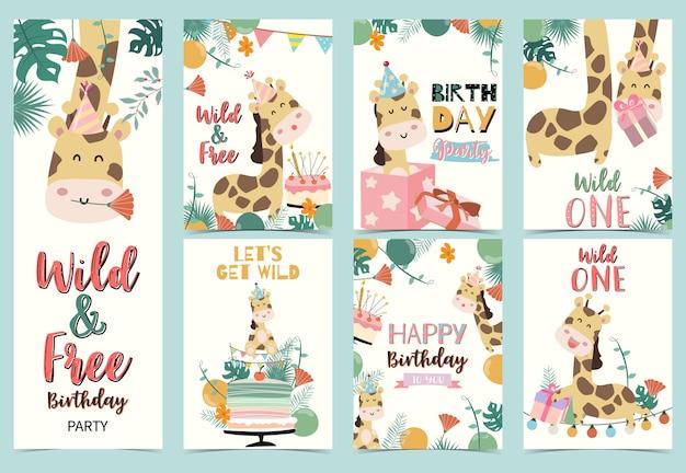 Conjunto de tarjetas de cumpleaños con jirafa Vector Premium