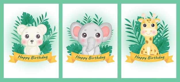 Conjunto de tarjetas de cumpleaños con oso, elefante y jirafa en estilo color agua. Vector Premium