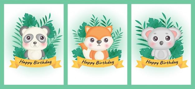 Conjunto de tarjetas de cumpleaños con panda, zorro y koala en estilo de color de agua. Vector Premium