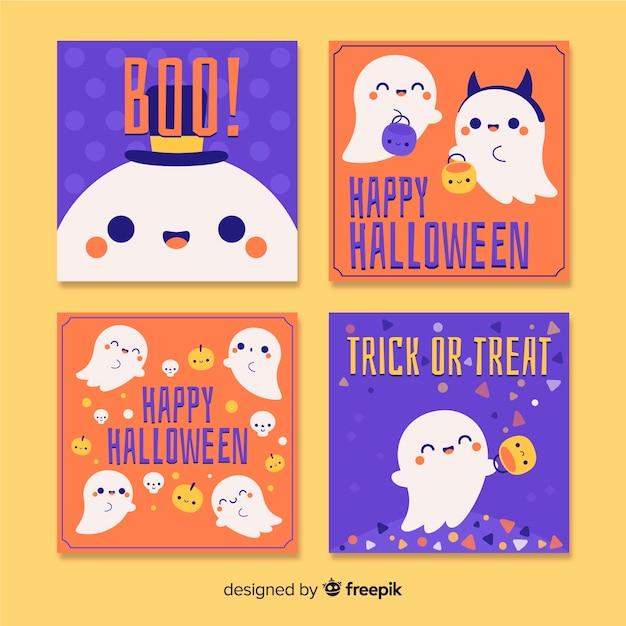 Conjunto de tarjetas de felicitación dibujadas a mano de halloween vector gratuito