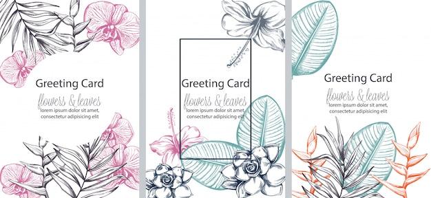 Conjunto de tarjetas de felicitación con lugar para texto. coloridas flores y hojas en arte lineal. vector gratuito