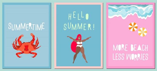 Conjunto de tarjetas de felicitación de verano moderno. variedad de tarjetas dibujadas a mano, carteles. citas manuscritas modernas sobre el verano. concepto de vacaciones y viajes. olas en la orilla del mar, cangrejo rojo y niña feliz. Vector Premium