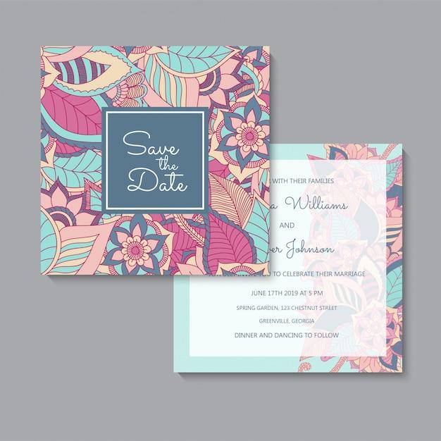 Conjunto de tarjetas florales rosa y azul de plantilla de boda floral vector gratuito
