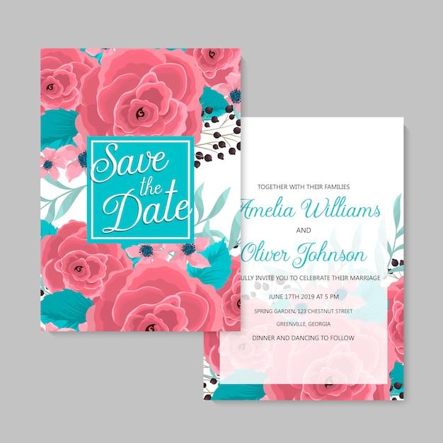 Conjunto de tarjetas florales rosa de plantilla de boda floral vector gratuito