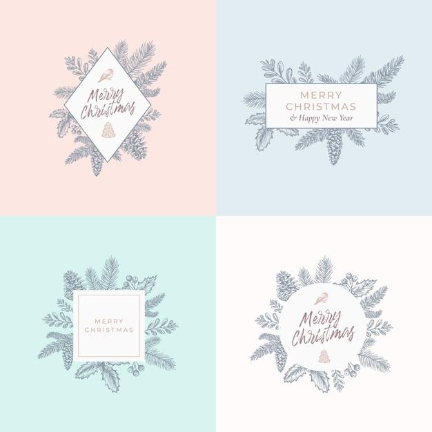 Conjunto de tarjetas de follaje navideño, carteles o plantillas de logotipos. vector gratuito