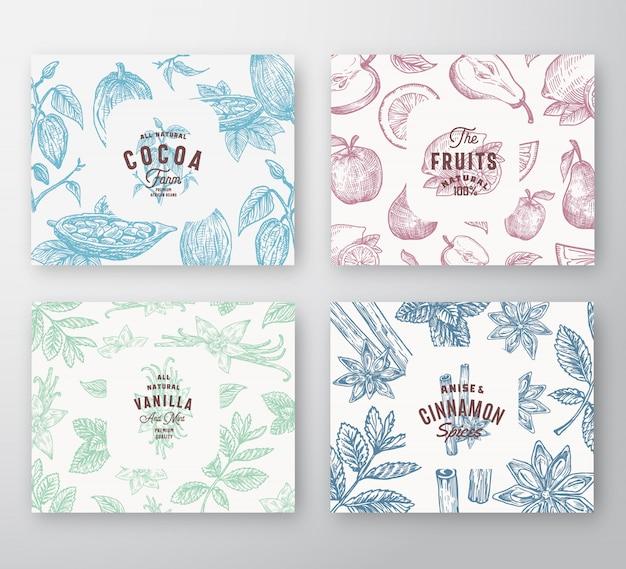 Conjunto de tarjetas de frutas dibujadas a mano, granos de cacao, menta, nueces y especias. colección de fondos de patrón de bosquejo abstracto con tipografía retro elegante y etiquetas vintage. Vector Premium