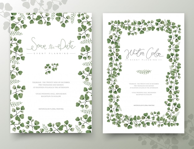 Conjunto de tarjetas de hojas de acuarela verde. Vector Premium