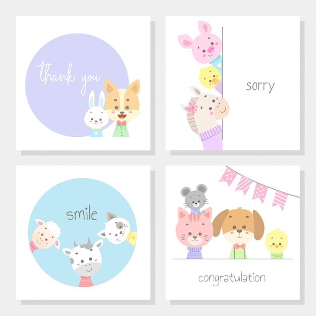 Conjunto de tarjetas con ilustración de vector de línea animal lindo arte Vector Premium