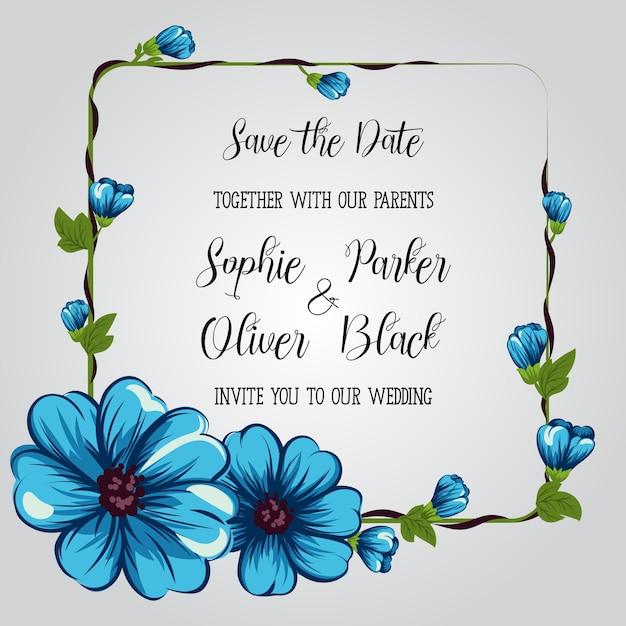 Conjunto De Tarjetas De Invitación De Boda Con Flores