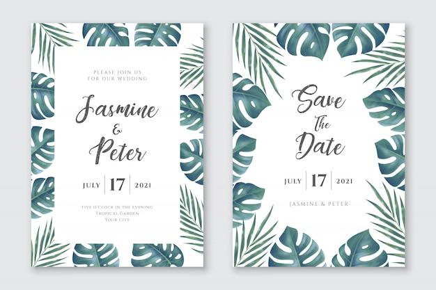 Conjunto de tarjetas de invitación de boda de hojas tropicales Vector Premium