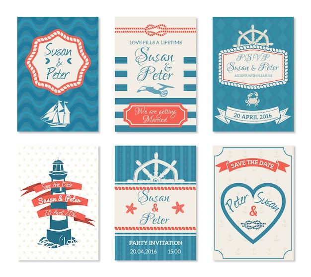 Conjunto de tarjetas de invitación de boda vector gratuito