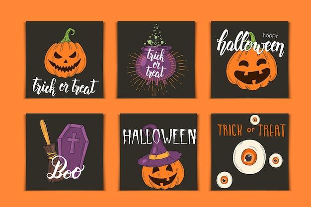 Conjunto de tarjetas de invitación de halloween con letras e iconos dibujados a mano. pumpkin jack, sombrero de bruja, escoba, sombrero, dulces, raíces de caramelo, ataúd, olla con poción en estilo boceto. Vector Premium