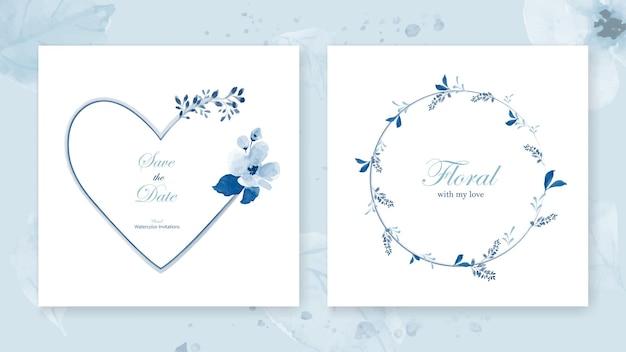 Conjunto de tarjetas con marco de corazón y una corona decorada con un ramo de flores de hermosas hojas de acuarela azul. Vector Premium