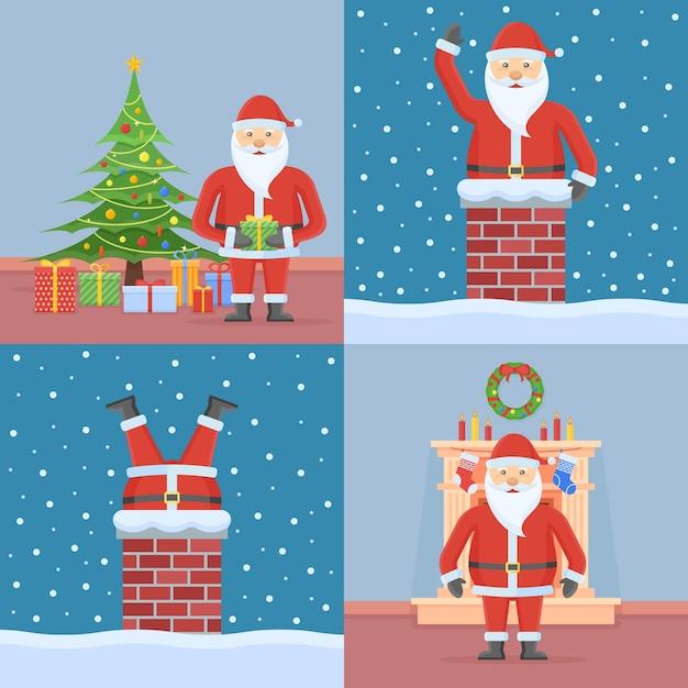Conjunto de tarjetas de navidad con santa claus en estilo plano Vector Premium