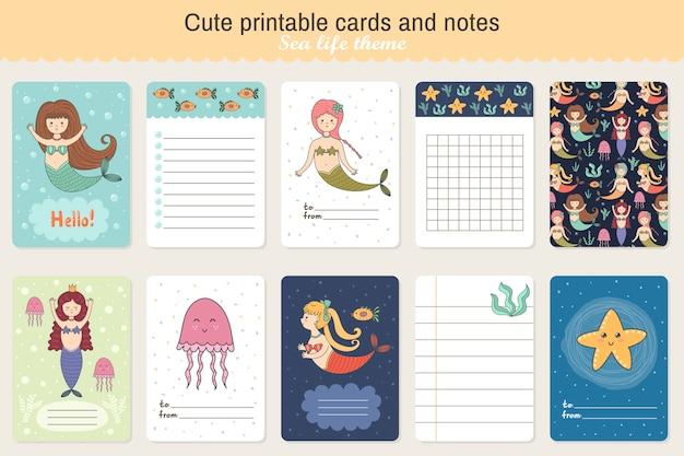 Conjunto de tarjetas y notas imprimibles lindos. tema de la vida marina con sirenas Vector Premium
