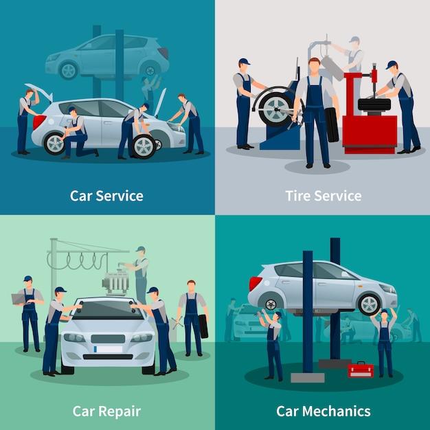 Conjunto de tarjetas de servicios de reparación de automóviles. vector gratuito
