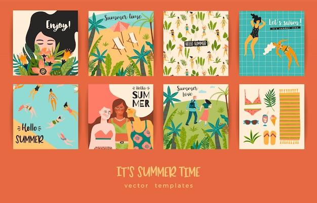 Conjunto de tarjetas de verano con ilustraciones. Vector Premium