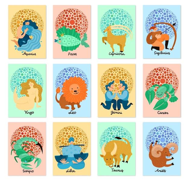 Conjunto de tarjetas verticales con signos del zodíaco dibujados a mano aislados sobre fondo pastel vector gratuito