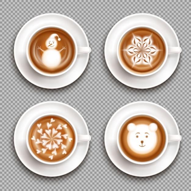 Conjunto de tazas blancas con vista superior de arte latte aislado vector gratuito