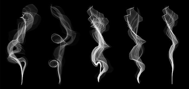 Conjunto de textura de ondas de humo de cigarrillo blanco delicado Vector Premium