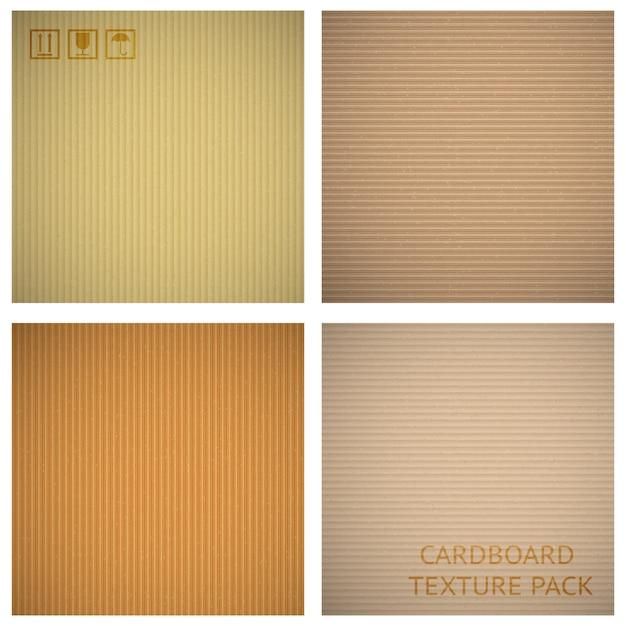 Conjunto de texturas de cartón. fondo de dibujos animados de papel, material de patrón macro primer plano, ilustración vectorial vector gratuito