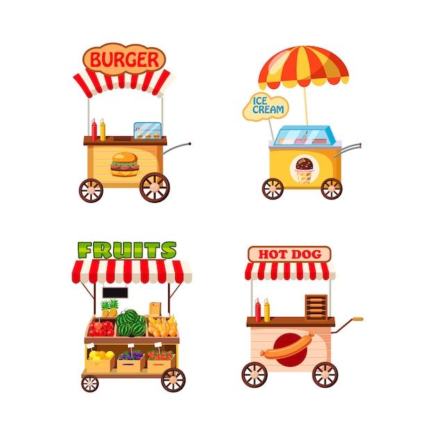 Conjunto de la tienda de carrito de calle. conjunto de dibujos animados de la tienda de carrito de la calle Vector Premium